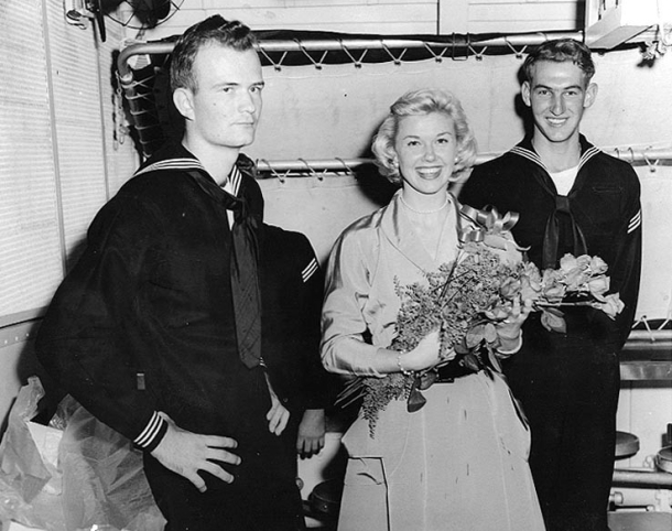 Doris Day visits the USS Juneau