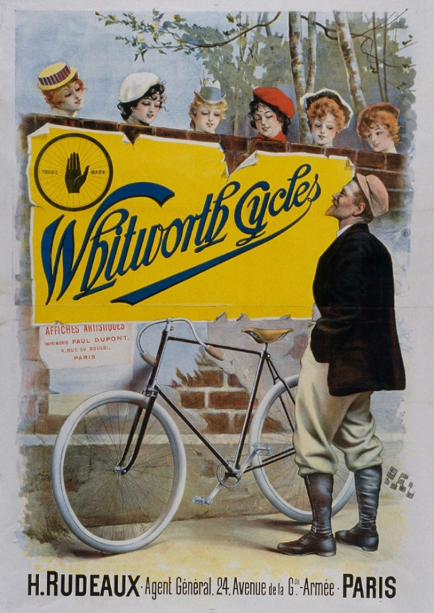 Whitworth Cycles advert by Paleologu, 1890s