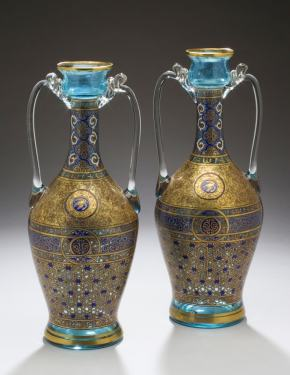 ★ French Glass Vases by Brocard, 1877