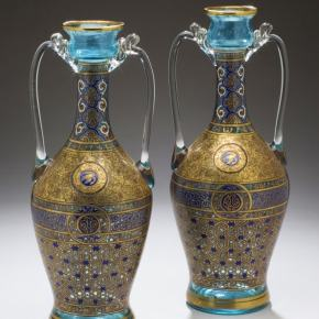 ★ French Glass Vases by Brocard,1877