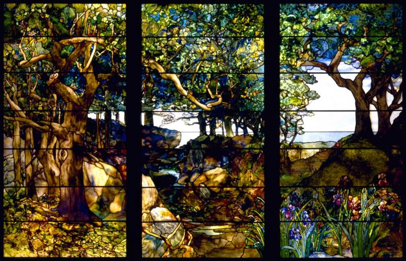 'A Wooded Landscape in Three Panels' by L.C. Tiffany (c.1905)