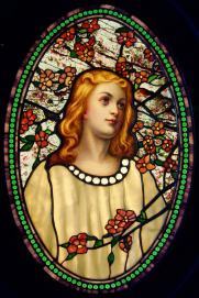 'Girl with Cherry Blossoms' by Tiffany Glass Co. (c.1890)