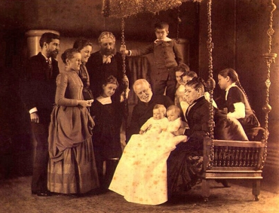 Louis Comfort Tiffany (far left) with his family, 1888.