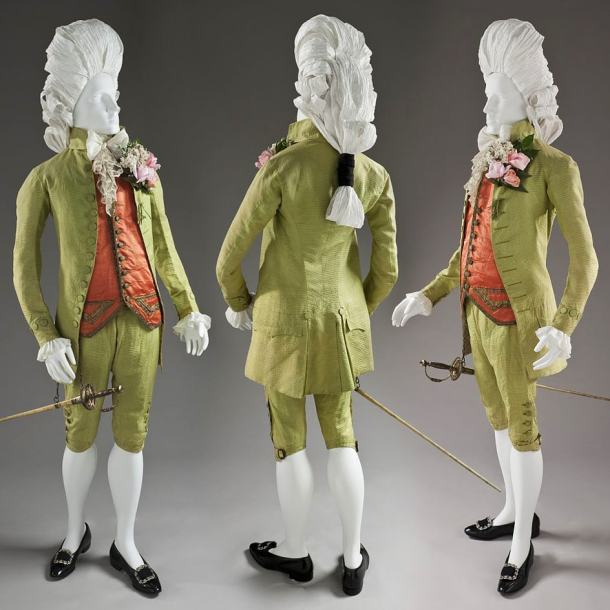 Man's Three Piece 'Macaroni' Suit, c.1770 - LACMA (M.83.200.1a-c)