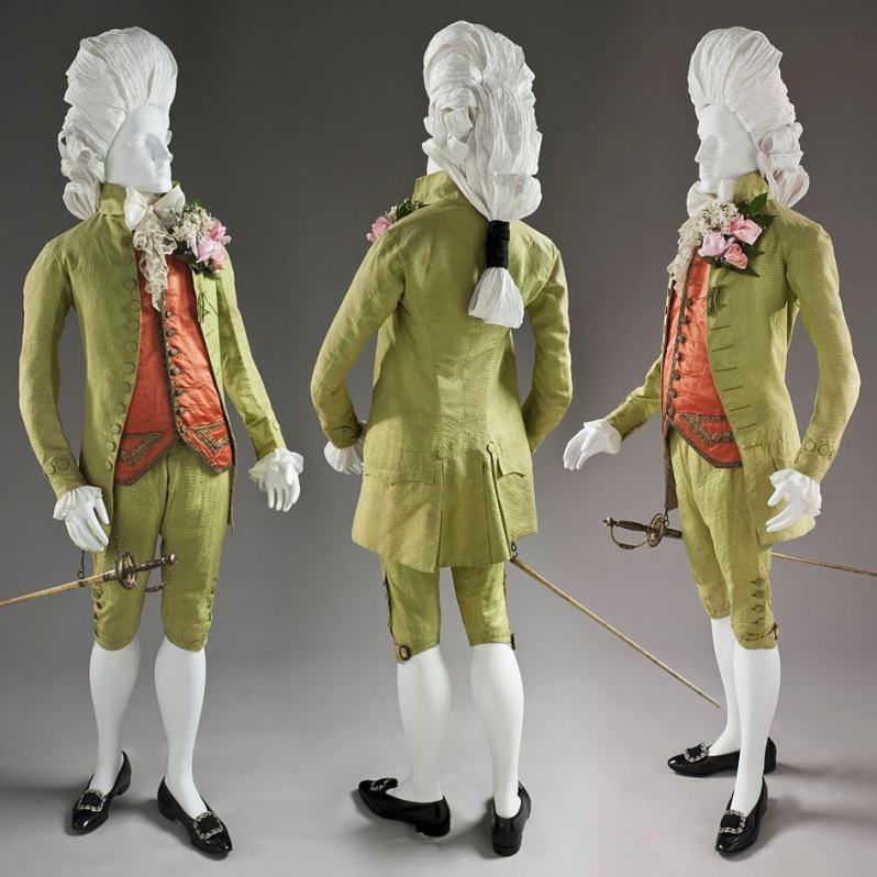 Man's Three Piece 'Macaroni' Suit, c.1770 - LACMA (M.83.200.1a-c)